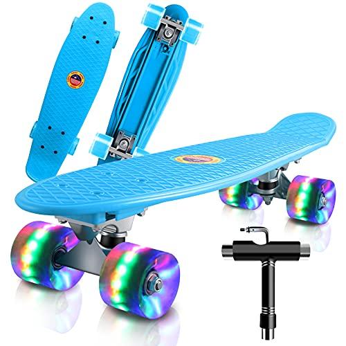 Cutemelo Skateboards 55cm Mini Cruiser Skateboard Completo retrò per Ragazzo, Ragazza, Giovani, Adulti, Principianti con Ruote LED Lampeggianti, con Strumento T (Blu)