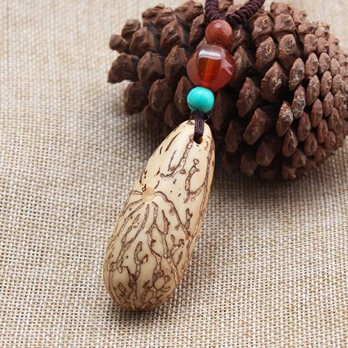 JONJUMP Collar étnico con piedras de Nepal hecho a mano Bodhi colgantes collar 80 cm
