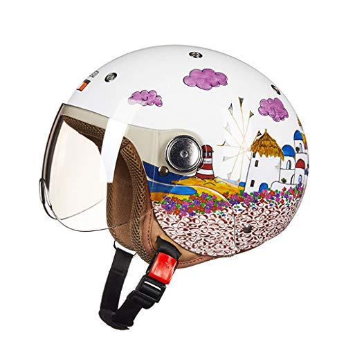 Casco para niños Casco eléctrico Bicicleta de dibujos animados Invierno Niño niña Tamaño ajustable Medio casco Motocicleta (Color : B-52-54cm)