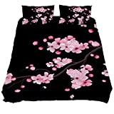 Japanese Cherry Blossoms Black Print Duvet Cover 3 Pieces Kids Bedroom Comforter Quilt Sheet Cover Queen Bedding Sets with Zipper,Black