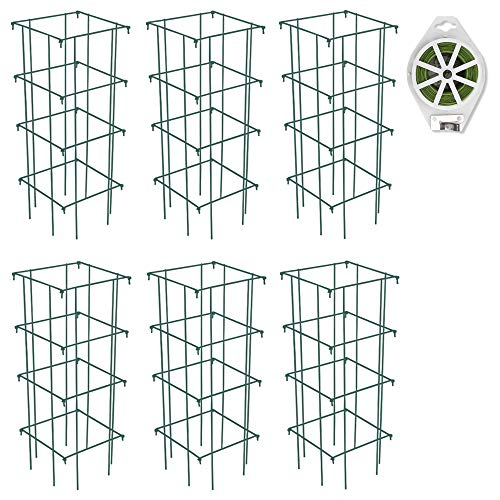 GROWNEER 6 Packs 39 Inches Square Folding Tomato Cages Plant Support Stake Tower with 328 Feet Twist Ties, for Tomato Plants, Eggplants, Cucumber, Climbing Plants and More