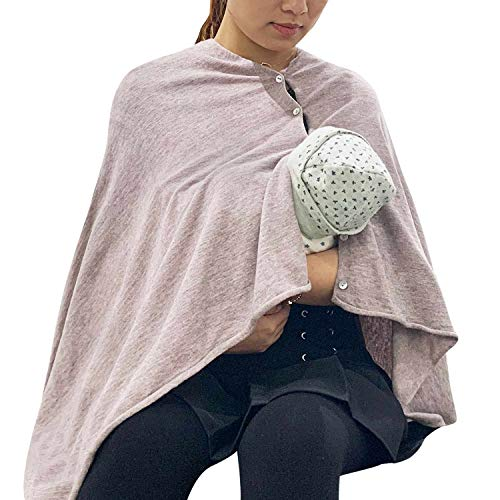 Check Out This Nursing Cover Poncho for Breastfeeding Adjustable Knitted Scarf with Button Closure f...