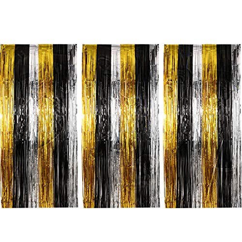 Sumind 3 Pack Metallic Tinsel Curtains, Foil Fringe Shimmer Curtain Door Window Decoration for Birthday Wedding Party (Gold, Silver with Black)