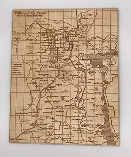 Engraved Wood Map of Fallout New Vegas