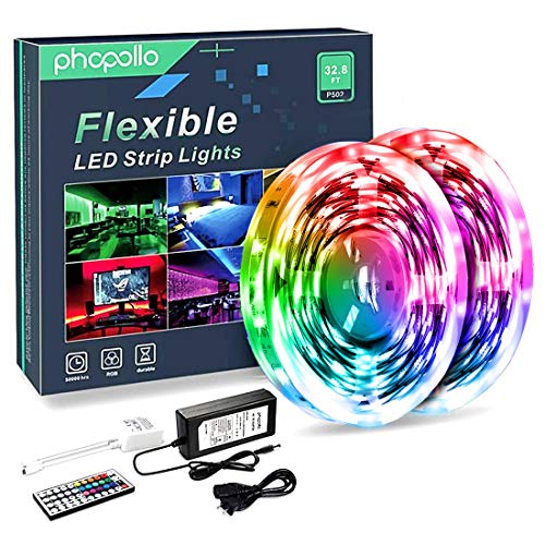 Phopollo LED Lights 32.8 FT RGB Led Strip Lights for Bedroom Color Changing 300 LEDs Bright Luces led para decoracion DIY Color Option with Power Supply and Remote No-Waterpoof