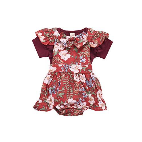 Eenkleurig bovendeel met korte mouwen voor baby's, met bloemenriemen en haarband, rode wijnrood, voor meisjes, kamperen, lange kleding. 100 Wijn