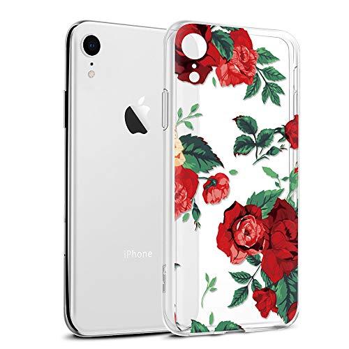 Cover iPhone XR, Eouine Custodia Cover Silicone Trasparente con Fiore Animali Disegni Ultra Slim TPU Morbido Antiurto 3D Cartoon Bumper Case per Apple iPhone XR 6,1 Pollici Smartphone (Rosa)