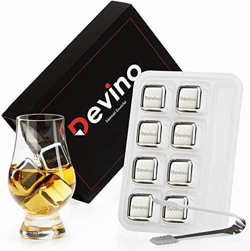 Devino® Whisky Steine aus Edelstahl [8er Set] I Wiederverwendbare Edelstahl Eiswürfel in Hochwertiger Geschenkverpackung inklusive Eiszange