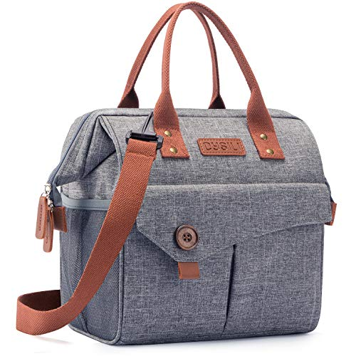 Lunch Bag with Leak Proof Material Insulated Lunch Box for womenmen Lunch Tote Bag for WorkPicnicHikingBeachFishing grey