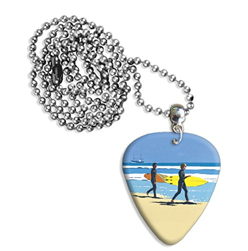 Surfers Summer At The Seaside Martin Wiscombe Guitar Pick Collana Necklace Vintage Retro