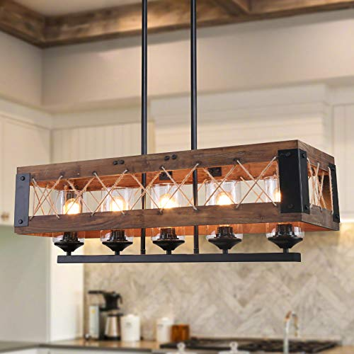 LALUZ Farmhouse Chandelier, 5-Light Kitchen Island Lighting with Clear Glass,...