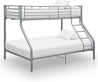 Cadre de lit superposé incurvé en métal gris massif, meuble de chambre pour les enfants, les adolescents et les adultes av...
