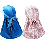 2 Pcs Wave Durags (Velvet Durag and Crushed Velvet Durag) – Premium Soft Headwraps with Extra Long Tail Perfect for 360 Waves