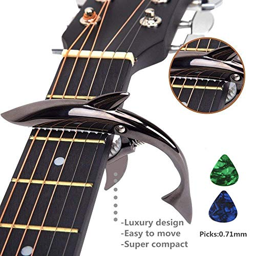 Imelod Zinc Alloy Guitar Capo Shark Capo for Acoustic and Electric Guitar with Good Hand Feeling, No Fret Buzz and Durable(Black)