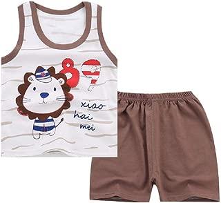 RONSHIN 2pcs/Set Children Boy Girl Summer Cartoon Lovely Printing Sleeveless Vest Suit
