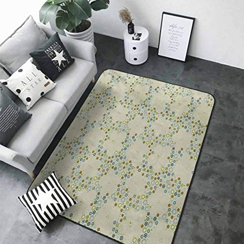 """Anti-Slip Coffee Table Floor Mats Flower,Ornament of Medallion Shapes Bordered with Small Wildflowers Pattern Print,Khaki Blue Green 60""""x 72"""" Best Floor mats"""