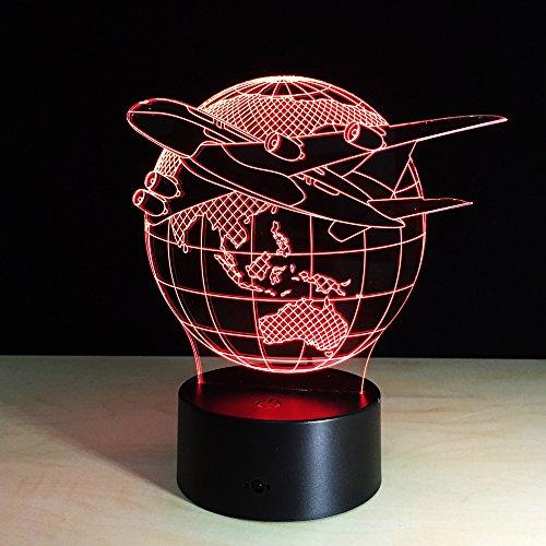 Avion Volant De La Terre 3D Lumière De Nuit Led 16 Couleurs Illusion Lampe Enfants Nuit Lampe Table Chevet Décor Noël Cadeau D'Anniversaire Cadeau Jouet Décoration Lampe
