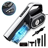 Car Vacuum, BuTure 8000Pa Handheld Vacuum Multifunction Tire Inflator Strong Cyclonic Suction Portable Vacuum with LED Light and 14.7Ft Corded for Car Tyres and Cleaning