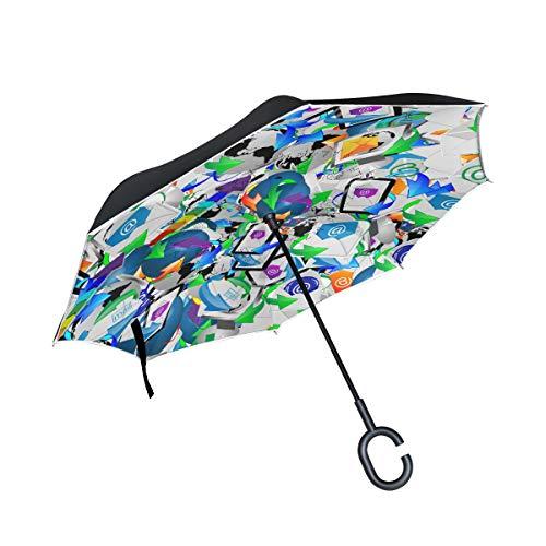 Ahomy - Paraguas invertido con Forma de Flecha, Planeta, Grande, Doble Cortavientos, protección contra la Lluvia, Paraguas con Mango en Forma de C