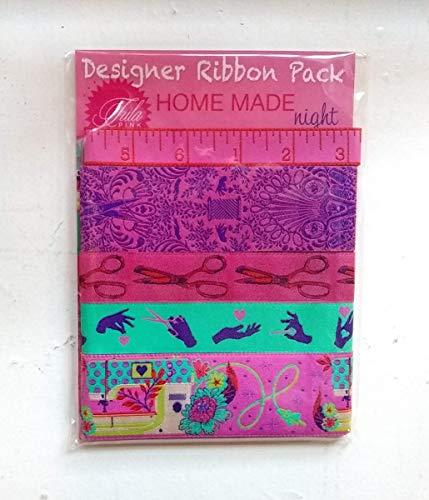 Renaissance Ribbons Designer Pack - Tula Pink's Home Made, Night Colorway (5 cintas, 1 m cada uno)