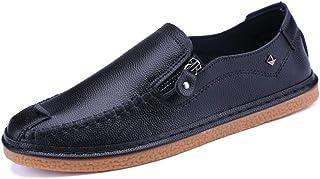 2019 Chaussures Homme Hommes Mocassins Chaussures Mocassins Occasionnels pour Hommes Slip on Side Zipper en Cuir De Microfibre Doux Léger À La Main Chaussures De Bateau À Coudre Mocassins et Loafers