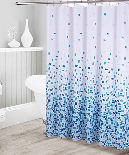 Kids Zone Home Linen Dekorativer Duschvorhang mit quadratischem Muster, wasserdicht, königsblau, hellgrün, blau, weiß, mit 12 Rollhaken aus Edelstahl für modernes Badezimmer