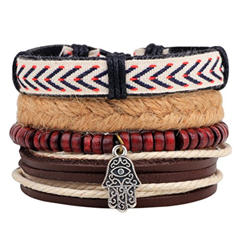 Winter 's Secret Buddha-Hand Anhänger Holz Perlen Totem Hand geflochten Multi Strand Ladytron Anzug Armband