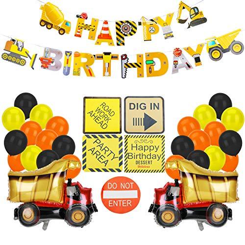 KATELUO Geburtstag Party Luftballons Dekorationen, Bagger Kindergeburtstag Deko, Baustelle Geburtstag Deko Set, Happy Birthday Banner, Baustelle Luftballons für Babyshower Burtstag Dekoration