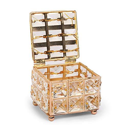 mopalwin Caja de almacenamiento de cristal dorado con tapa para cosméticos y joyas (dorada)