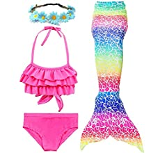 130, Rainbow BESTYLING 3PCS Girls Mermaid Tail Swimsuit Princess Bikini Swimwear Set