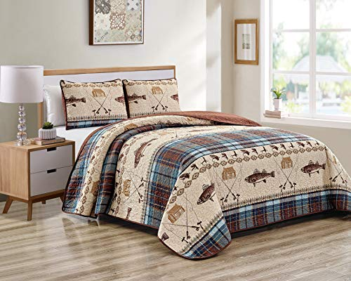 River Fly Fishing Themed Rustic Cabin Lodge Quilt Stitched Bedspread Bedding Set with Fishing Rods Lure with Southwestern Tartan Check Plaid Tweed Patterns Blue Brown - River Lodge (King/Cal-King)