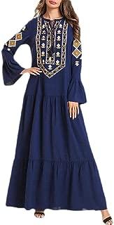 Etecredpow Women's Flare Sleeve Ruched Swing Arab Muslim Abaya Embroidered Dress