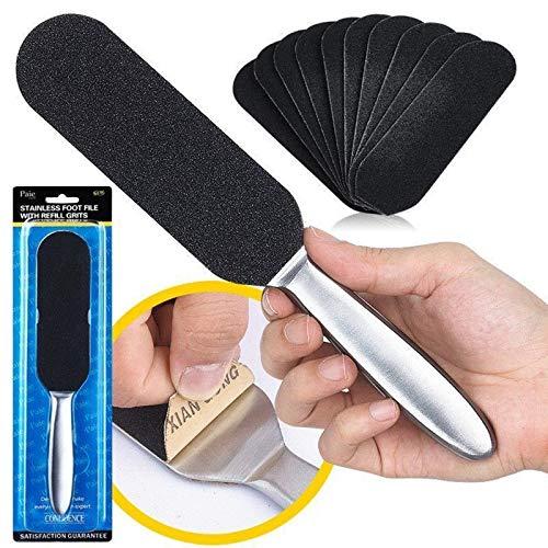 Kit de Pie Escofina Doble Cara + 10 piezas de papel de lija reemplazable y lavable, herramienta de pedicura exfoliante y exfoliante