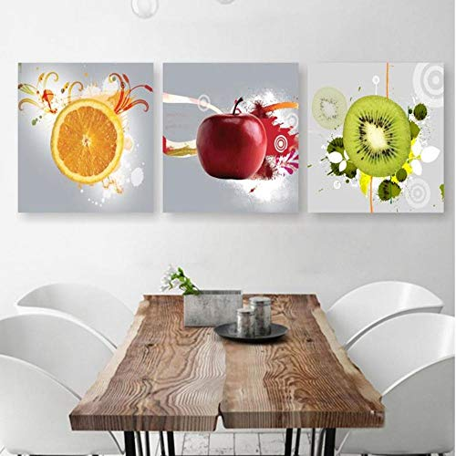 ZYXCHNZK Pintura Decorativa Pintura De Lienzo 3 Piezas Restaurante Frutas Naranja UVA Manzana Verde…