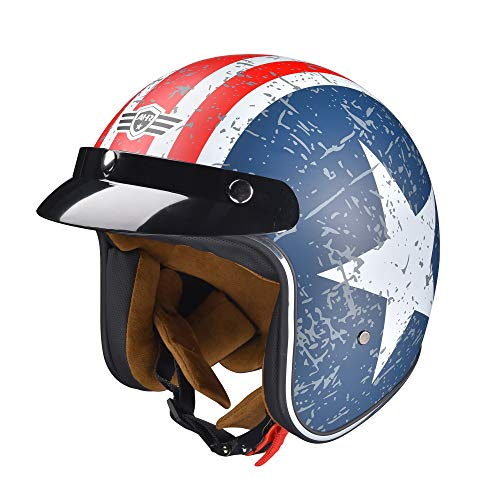 AHR Run-O5 Retro 3/4 Open Face Motorcycle Helmet with Removable Snap on Sun Shield Visor DOT Patriotic Flag Style M
