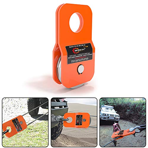 RUGCEL Winch 4.8T Heavy Duty Recovery Winch Snatch Block,10500lb Capacity (Orange)