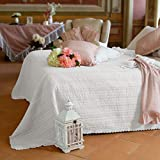 AT17 Boutis Matrimoniale Ricamato Shabby Chic Fable Collection Colore Bianco
