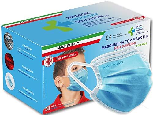 Sherman Tree 50 mascarillas quirúrgicas italianas para niños con certificación CE como dispositivo médico, desinfectadas individualmente, 98% de filtración bacteriana, también se venden en farmacias