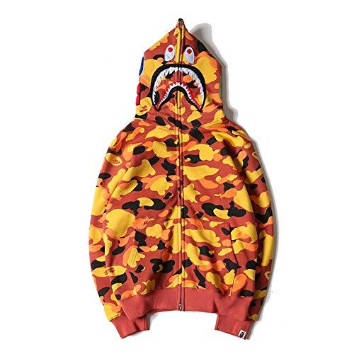 Bape Shark Military Combat Army Camo Hoodie Felpa Giapponese Pullover Full Zip Cappotto Luminoso Maglione con Cappuccio Uomo Donna L Arancione