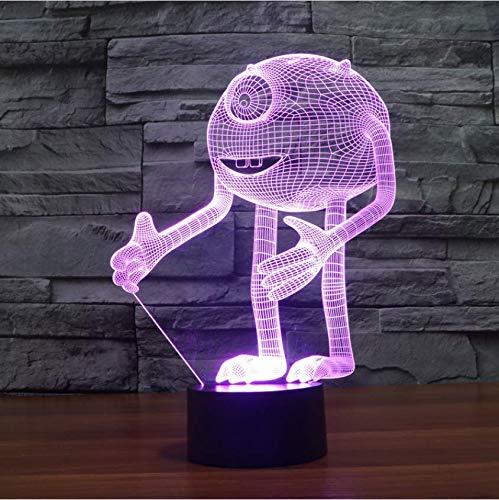 Illusion De no?l One-Eyed Monster Acrylique 3D Illumination Optique Veilleuse, Veilleuse 7 Couleurs LED, Monstres, Décoration Inc. pour les Enfants