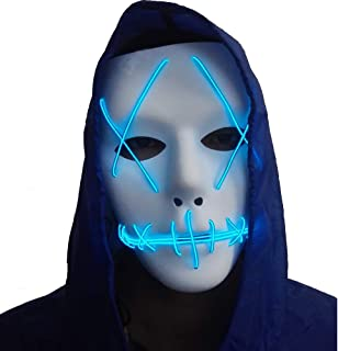 Halloween Mask Cosplay LED Glow Scary EL Wire Light Up Grin Masks for Festival Parties Costume (Halloween mask for Purple)