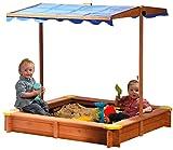 dobar 94350FSC - Aiuola per Bambini, per Giocare con la Sabbia, Tetto Regolabile in Altezza e orientabile, con Protezione UV 801, Fondo Incluso, 117 x 117 x 117 cm