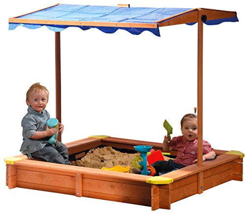 dobar 94350FSC - Sandkasten aus FSC-Holz, Dach höhenverstellbar und neigbar mit UV 801-Schutz inklusive Bodenplane, 117 x 117 x 117 cm
