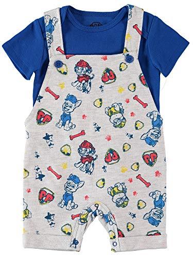 Nickelodeon Baby Boys' Paw Patrol T-Shirt and Bodysuit Shortall Set, Grey/Blue/Red, 18 Months