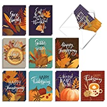 Each Thanksgiving card in this bulk assortment has a unique greeting and cover; Please review photos Receive 20, assorted 4 x 5.12 inch note cards with envelopes (10 Designs, 2 Each) This notecard set features a variety of festive Thanksgiving photos...