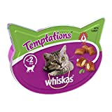 Whiskas Temptations - Tasty, Crunchy Cat Treats, Small Bite Size Snacks with A Delicious Turkey Filling, 8 x 60 g Packets