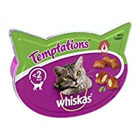 Treat your cats with Whiskas Temptations, a delicious way to treat your feline friend, tasty, crunchy biscuits in every pack, helps with training and playtime Temptations are dual textured, tasty biscuits with a crispy and crunchy outside and an irre...
