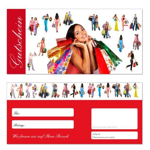 50 Stück Geschenkgutscheine (Einkauf-634) - Gutscheinkarten Gutscheine für Handelsbereicher aller Art (Bekleidung, Spielwaren, Kosmetik uvm)