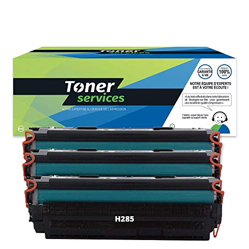 Toner Services CE285A - Lote de 3 cartuchos de tóner para Canon 725, color negro