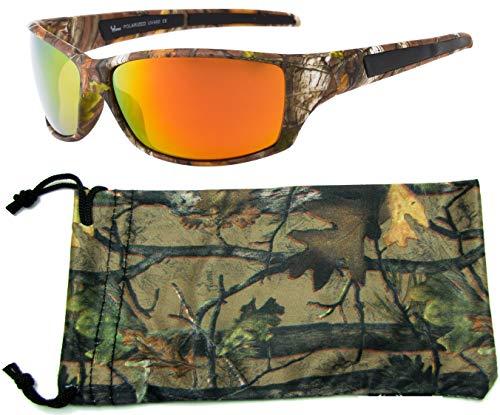 Hornz Marrone Camuffamento della Foresta Occhiali da Sole polarizzati per Gli Uomini durevoli Leggeri – Telaio Camo Marrone – Lente Arancio